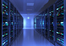 Interiore della stanza del server Fotografie Stock