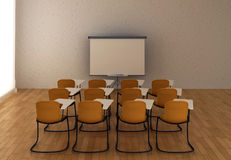 Interiore della stanza di addestramento con la scheda dell'indicatore Immagine Stock