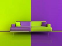 Interiore di contrasto verde/di porpora Fotografia Stock Libera da Diritti