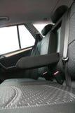 Interiore di cuoio nero di lusso dell'automobile Immagine Stock