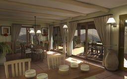 Interiore di Digitahi di una casa di campagna Immagine Stock