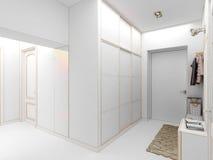 Interiore di disegno moderno del corridoio, corridoio 3d rendono Fotografia Stock