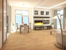 Interiore di disegno moderno del salone 3d rendono royalty illustrazione gratis