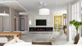 Interiore di lusso dell'appartamento con il camino Immagini Stock Libere da Diritti
