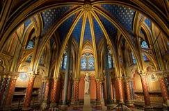 Interiore di Sainte-Chapelle, Parigi, Francia Fotografia Stock Libera da Diritti