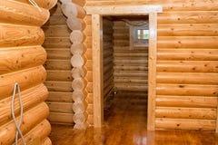Interiore di una casa di legno Immagine Stock Libera da Diritti