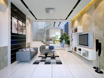 Interiore di una casa moderna con il salone Fotografie Stock