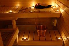 Interiore di una sauna finlandese Immagine Stock
