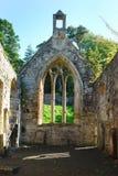Interiore di vecchio XIVº secolo di rovina della chiesa del tempiale Fotografia Stock