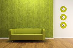 Interiore di verde con il sofà Immagini Stock
