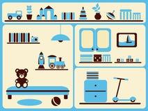 Interiore ed oggetti della stanza dei bambini impostati. Fotografie Stock