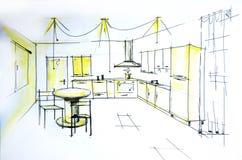Interiore/figura moderni della cucina Immagine Stock Libera da Diritti