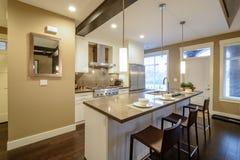 Interiore luminoso moderno della cucina Fotografia Stock Libera da Diritti
