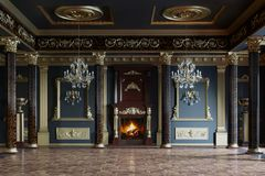 Interiore lussuoso del palazzo rappresentazione 3d fotografie stock