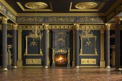 Interiore lussuoso del palazzo rappresentazione 3d immagine stock
