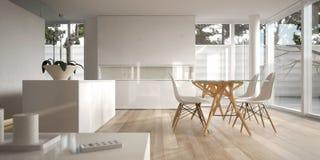 Interiore minimalista bianco con la tabella pranzante Fotografia Stock