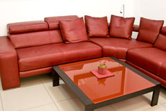 Interiore moderno alla moda con un sofà di cuoio rosso Immagine Stock Libera da Diritti