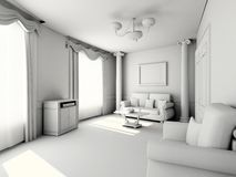 Interiore moderno in bianco Fotografie Stock Libere da Diritti