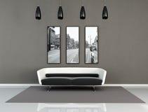 Interiore moderno in bianco e nero Immagini Stock