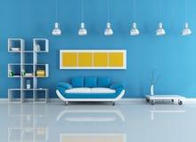Interiore moderno blu Fotografia Stock