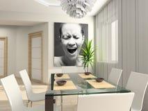 Interiore moderno con il ritratto. Immagini Stock Libere da Diritti
