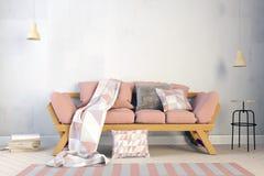 Interiore moderno con il sofà derisione della parete su royalty illustrazione gratis
