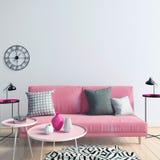 Interiore moderno con il sofà derisione della parete su illustrazione di stock