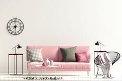 Interiore moderno con il sofà derisione della parete su illustrazione vettoriale