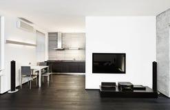 Interiore moderno del salotto e della cucina Fotografia Stock Libera da Diritti