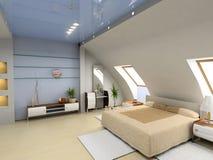 Interiore moderno della camera da letto Fotografie Stock Libere da Diritti