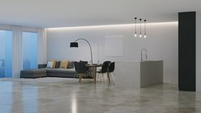 Interno moderno della casa con la cucina gialla notte