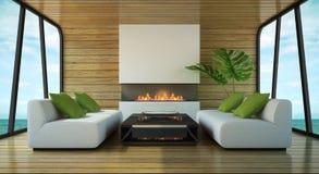 Interiore moderno della casa di spiaggia Fotografia Stock