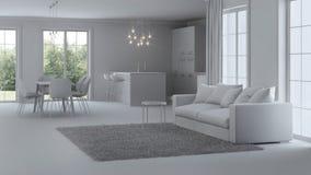 Interiore moderno della casa riparazioni Interiore grigio fotografia stock libera da diritti