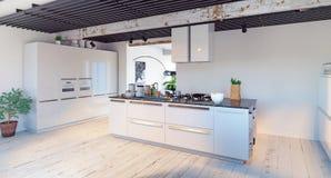 Interiore moderno della cucina Immagini Stock Libere da Diritti