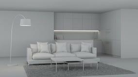 Interiore moderno della cucina Interiore grigio royalty illustrazione gratis