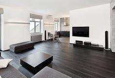 Interiore moderno della stanza di seduta di stile di minimalism Fotografie Stock Libere da Diritti