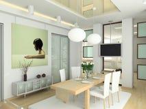 Interiore moderno in grande casa Fotografia Stock Libera da Diritti