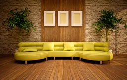 Interiore moderno minimo con il sofà del limone Immagini Stock Libere da Diritti