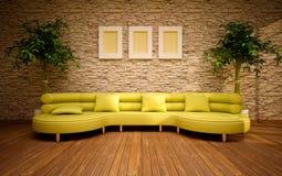 Interiore moderno minimo con il sofà del limone Fotografie Stock