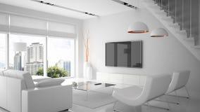 Interiore moderno nel colore bianco Fotografia Stock