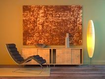 Interiore moderno (notte) Fotografie Stock Libere da Diritti