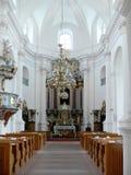 Interiore vuoto della chiesa Fotografie Stock