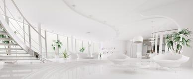 Interioren av den moderna lägenhetpanoramat 3d framför Arkivbilder