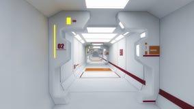 interioren 3d framför futuristic hall Royaltyfri Foto