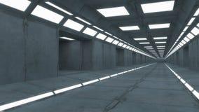 interioren 3d framför futuristic hall Royaltyfria Bilder