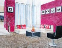 interioren skissar Fotografering för Bildbyråer