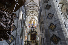 Interiores da igreja de São Nicolau, Ghent, Bélgica Fotografia de Stock Royalty Free