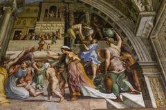 Interiores de salas de Raphael, museu do Vaticano, Vaticano Fotos de Stock