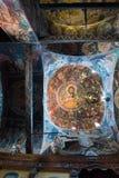 Interiores del monasterio de la trinidad santa en Meteora foto de archivo libre de regalías