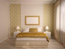 Interiores elegantes del dormitorio de la casa Imágenes de archivo libres de regalías